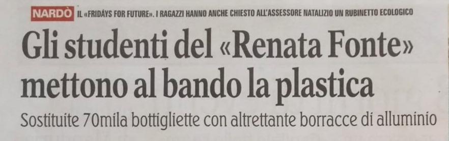 """Dicono di noi – """"Gli studenti del Renata Fonte mettono al bando la plastica"""""""