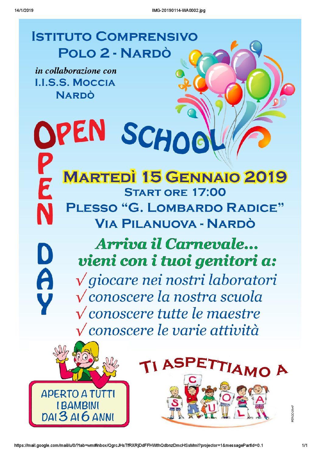 OPEN DAY 15 GENNAIO SCUOLA PRIMARIA